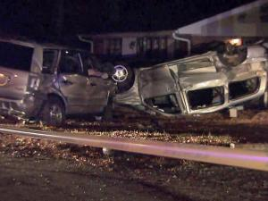 Raleigh police said the driver of a stolen Honda Pilot crashed into a power pole at 3124 Brentwood Road, then into a minivan parked in a driveway around midnight Nov. 16, 2011. The impact flipped over the minivan.