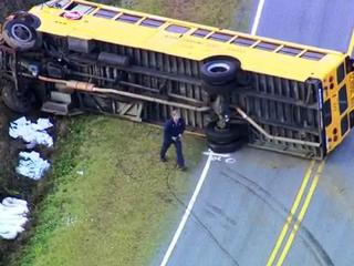 A North Johnston High School bus overturned on Oliver Road near Kenly on Nov. 29, 2011, but no serious injuries were reported.