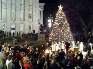 The North Carolina Christmas tree is lit during the 2011 holiday season.