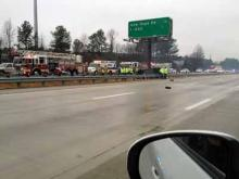 A wreck on U.S. Highway 264 in Raleigh caused lane closures on Jan. 11, 2012. (Submitted by Joey McCutcheon)