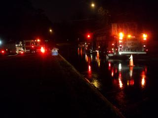 Raleigh city employees cleaning a sewer line accidentally cut a gas line between Atlantic Avenue and Wake Forest Road Friday evening.