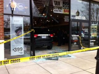 An SUV crashed into the showroom of a furniture store at the Renaissance Center shopping center in Durham on Feb. 10, 2012.