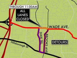 Three blocks of Wade Avenue will be closed early Wednesday so crews can repair an 8-inch sewer main.