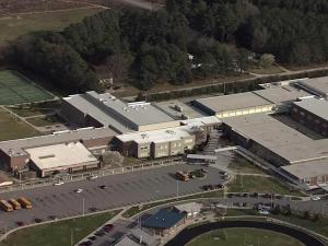 Sky 5 flies over East Wake High School in Wendell during a code yellow lockdown on Monday, March 12, 2012.