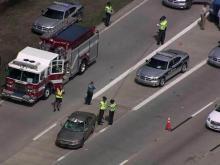 Sky 5: Wreck on I-40 on-ramp in Garner