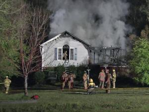A fire destroyed a home at 144 Creekstone Drive in Benson around 12:30 a.m. Tuesday, April 3, 2012.