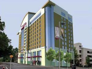 An artist's rendering of an 11-story Residence Inn by Marriott hotel proposed for a vacant lot across the street from the downtown Raleigh Convention Center.