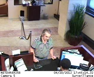 Fayetteville police said a man walked into the Capital Bank, at 225 Green St., around 5:45 p.m. on Sunday, April 22, 2012, and handed the clerk a note demanding money and stating that he had a weapon.