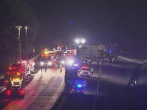 A major wreck involving three tractor-trailers closed Interstate 95 Wednesday night in both directions near mile marker 137, about one mile south of the U.S. Highway 64 interchange in Nash County, authorities said.