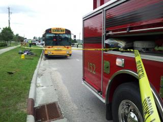 Eleven children were burned on a Wake County school bus in Knightdale Wednesday when a hose burst on board, spewing hot steam, a Wake County schools spokesman said.