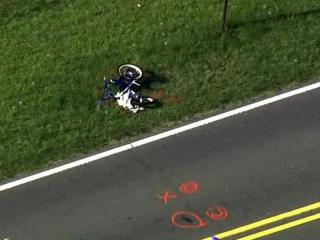 A 7-year-old child riding a bike down Powhatan Road in Johnston County was struck by a pickup truck Wednesday afternoon, according to the state Highway Patrol.