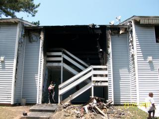 Fire swept through an apartment building at 319 Railroad St. in Knightdale Saturday.