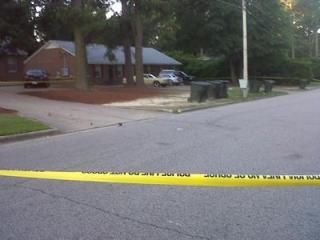 Authorities were investigating a shooting death at a home on Roundtree Street in Wilson on Thursday, June 7, 2012.