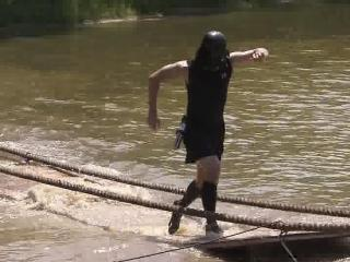 Participants in the Ninja Challenge contended with water and mud.