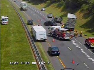 A multi-vehicle wreck closed Interstate 85 North at mile marker 168, between Hillsborough and Durham, on Sunday, June 24, 2012.