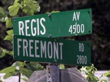Regis Avenue Freemont Road street signs in Durham
