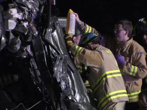 Two people were killed and another injured early Sunday in a wrong-way crash on Interstate 40 and Jones Sausage Road in Raleigh, police said.