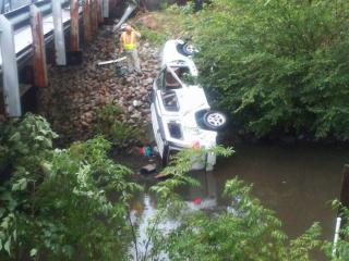A vehicle plunged into a river on Old Dam Road in Selma Tuesday afternoon, authorities said.