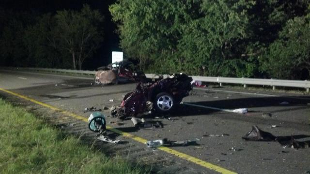 A man was killed and five people were injured early Sunday in a three-car crash on U.S. 64 in Franklin County, according to the state Highway Patrol.