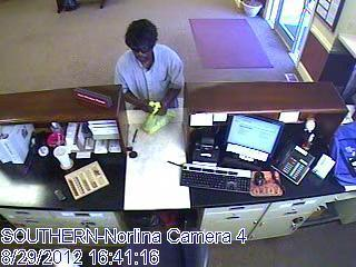 Norlina police provide this image from security video of a man who robbed Southern Bank.