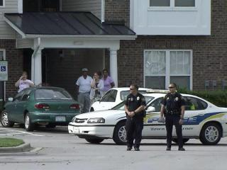 Garner police evacuated 36 apartments at Abberly Place Apartment Homes, 500 Abberly Crest Blvd., during a search for a reported explosive device on Sunday, Sept. 30, 2012.