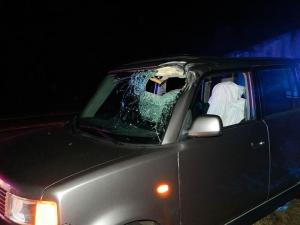 A log went through the windshield of a car on U.S. 1 in Vass on Oct. 25, 2012, but the driver suffered injuries that weren't considered life-threatening, authorities said. (Photo courtesy of Billy Marts, AberdeenTimes.com)