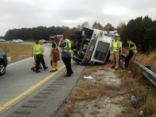 A tractor-trailer overturned Friday morning on an Interstate 540 exit ramp in Knightdale. Photo courtesy of the Town of Knightdale.