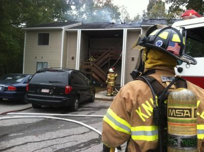 Knightdale fire crews battled a blaze at an apartment building on Flowers Street Monday.