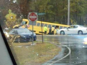 A school bus wrecked in Hoke County Tuesday, Nov. 13, 2012. (Photo submitted by Frankie McIntyre)