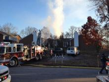 Crews battle an apartment fire in the 4600 block of Brockton Drive, Raleigh, on Nov. 26, 2012. (Photo by Leyla Santiago)
