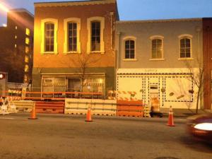 Raleigh officials closed part of Wilmington Street Friday, Dec. 7, 2012 to begin repairs on a building with structural problems.