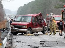 Emergency personnel respond to a wreck involving a van and a semi-tractor trailer on I-95 South near the 115 mile marker, Jan. 12, 2013. Serious injuries are reported. (Photo courtesy of Wilson Daily Times)