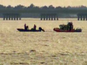 Rescuers search for a pilot missing after his twin-engine plane crashed in the Croatan Sound near Manteo Sunday, Jan. 13, 2013, according the Coast Guard. (Photo courtesy of WAVY News)