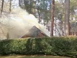 Firefighters rushed to extinguish a blaze in the attic of a Raleigh home Sunday afternoon.