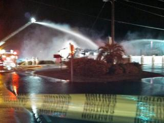 Fire ripped through Tiffany's Motel in Surf City early Thursday. (Photo courtesy Ryan Franklin, WWAY)