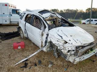 State Highway Patrol officials are investigating the cause of a Thursday morning crash in Moore County that killed one child and sent four others, including three children, to the hospital. (Photo courtesy Frank Staples)