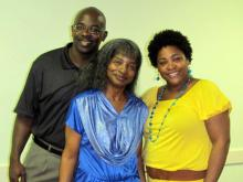 Pearlie O'Briant Johnson, center, with her son and daughter-in-law, George and Wendy O'Briant.