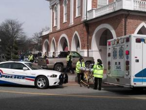A pickup slammed into the Market House in downtown Fayetteville on March 11, 2013.