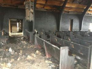 Fire tore through the Oak Grove Pentecostal Free Will Baptist Church in Stedman early Saturday morning, authorities said Sunday.