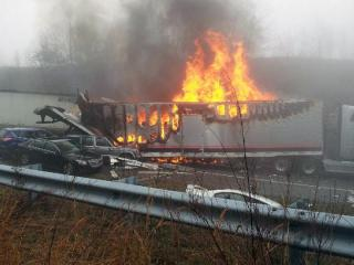 More than 70 vehicles, including a tractor-trailer that caught fire, were involved in a pile-up Sunday afternoon on Interstate 77 near the North Carolina-Virginia border. (Photo courtesy of WDBJ-TV, Roanoke/Facebook)