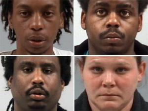 Three men and a woman were charged Friday morning after authorities say they robbed a home in Wilson's Mills and assaulted a police officer who attempted to apprehend them.