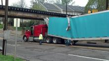 IMAGES: Truck hits Peace Street bridge in Raleigh