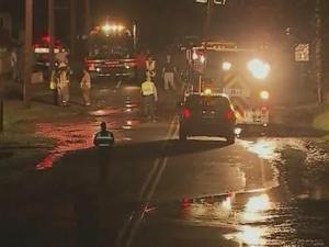 Water flooded Main Street in Clayton after a car crash toppled a hydrant.