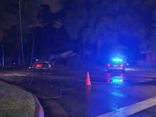 Authorities closed all lanes of Wade Avenue at Faircloth Street early Tuesday after a car ran into a power pole.
