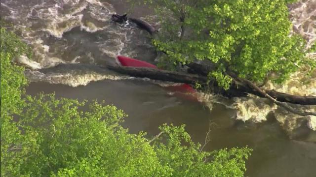 An overturned kayak could be seen in the Cape Fear River on May 10, 2013, prompting a brief search for the missing kayaker.