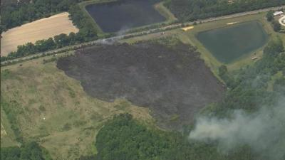 SKY5 shows an aerial view of a forest fire in Wilson.