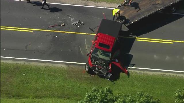 SKY5 provided this aerial view of a fatal crash May 29 in Harnett County.