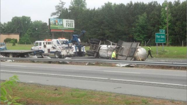 All southbound lanes of Interstate 95 are closed at Exit 90 in Johnston County Saturday morning after a tractor-trailer crashed overnight, spilling thousands of gallons of orange juice on the highway, authorities said.