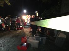 Authorities gathered Tuesday night to search for a teenage boy missing in the Cape Fear River near Wade.