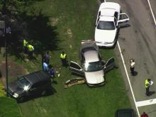 Sky 5 coverage of Raleigh crash